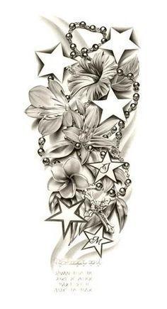 Half Sleeve Tattoo- smaller starts and use kids birth month flowers mine