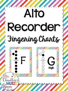 """This is a set of 12 ALTO recorder fingering charts bordered rainbow stripes that match all of the other visuals in my store! F, F#, G, A, Bb, B, C, D, E, high F, high F# and G. 8.5""""x11"""" portrait orientation. Check out some of my other resources that pair"""