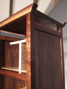 Tall narrow bookcase. Modern wood furniture, mid century modern zen media console, display cabinet, storage tower, linen cabinet, free standing pantry cabinet