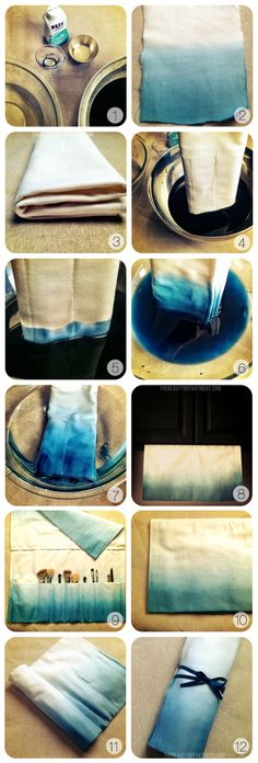 DIY :: Easy dip-dye or ombre dying.  The tutorial is for a brush or tool bag, however, this would also work for heavy canvas curtains (perhaps for french double doors) or cotton bedsheets.