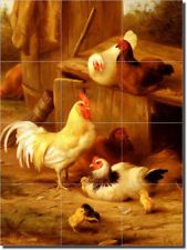 Roosters Chickens Art Ceramic Tile Mural Backsplash