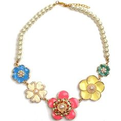 Bright Flowers and Pearls Necklace #jijikiki