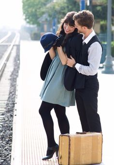 Vintage inspired photo shoot. #cutecouples #couple #50s #modcloth #dearcreatures #vintage #travel #travelinspired #cute #love #pomona #trainstation