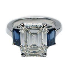 Emerald Cut Diamonds, Blue Sapphire Rings, White Gold Diamonds, Diamond Cuts, Emerald Cut Diamond Engagement Ring, Emerald Rings, Star Sapphire, Sapphire Jewelry, White Sapphire