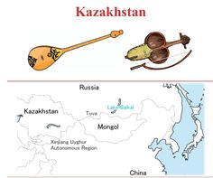 KAZAKISTAN  (Left to right) 1.- DOMBRA: Chordophone / lute family. 2.- KOBYZ: Chordophone / bowed string instrument