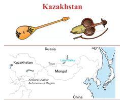 KAZAKISTAN  (Left to right) 1.- DOMBRA: Chordophone / lute family. 2.- KOBYZ: Chordophone / bowed string instrument