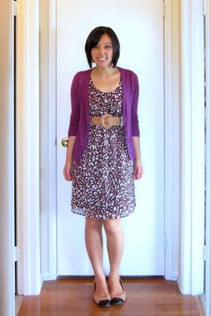 Purple cardigan, burgundy spotted dress, tan belt and shoes. Audrey at Putting Me Together. Black Dress Outfits, Summer Outfits, Casual Outfits, Summer Clothes, Purple Cardigan, Purple Dress, Business Fashion, I Dress, Beautiful Outfits