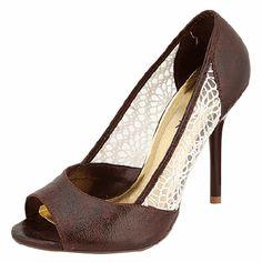 Women's Damita K Carisa-01 Brown Peep Toe Pumps Shoes, Carisa-01 Brown