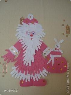 Поделка изделие Раннее развитие Новый год Аппликация из «ладошек» Дед Мороз и ёлочка Бумага фото 1