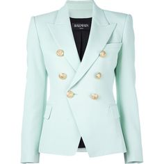 Balmain fitted blazer ($2,495) ❤ liked on Polyvore featuring outerwear, jackets, blazers, green, green blazer jacket, double breasted jacket, double breasted blazer, fitted blazer and green jacket