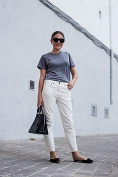 Trini | The Row Ashland jeans Manolo Blahnik slides