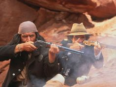 GERONIMO:  AN AMERICAN LEGEND (1993) - Jason Patric (pictured) - Gene Hackman - Robert Duvall - Wes Studi (pictured) - Matt Damon - Rodney A. Grant - Story by John Milius - Directed by Walter Hill - Columbia Pictures - Publicity Still.