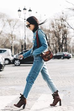 PFW-Paris_Fashion_Week_Fall_2016-Street_Style-Collage_Vintage-Yoyo_Cao-Denim_Outfit-Gucci_Bag-Chloe_Lace_Up_Sandals-2