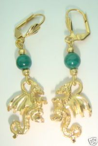 Great 3 dimensional diamond-cut earrings with 5mm green malachite beads - they measure 2 inches long - pierced lever backs - this set is an gold plate with each diamond cut hand applied. Mint condition from old stored stock. NBW