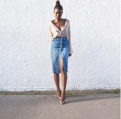 Kuiyaskloset wearing a Miss Selfridge denim midi skirt