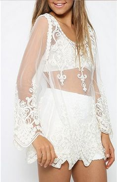 27636c0c15cd2d New Hollow Out White Mesh Lace Women Shirt Summer Style Long Sleeve O Neck  Sexy T-shirts Elegant Evening Party Beach Shirts