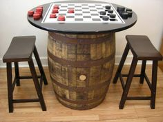 "Vintage Whiskey Barrel c/36"" Black Table Top-Checker Board-Checkers-2 Bar Stools via Etsy"
