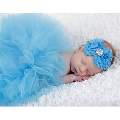 >> Click to Buy <<  Cute Sky Blue Newborn Tutu Set Infant Flower Hairband & Lace Skirt Baby Girl Photography Props Ropa De Bebe Costumes for Kids #Affiliate