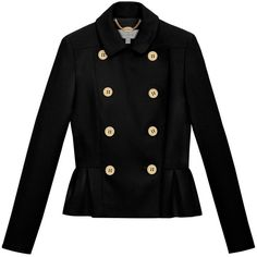 Double Breasted Jacket Black Double Wool (2,225 PEN) ❤ liked on Polyvore featuring outerwear, jackets, coats, tops, casacos, black jacket, black collar jacket, short wool jacket, short black jacket and black long sleeve jacket