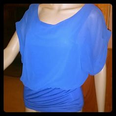 Nearly new Bebe top! Cobalt blue top. Sheer, capped sleeves. Gathers at waist. Runs just a teensy bit big....I normally wear a small but this XS fit fine. bebe Tops