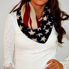 American Flag knit scarf