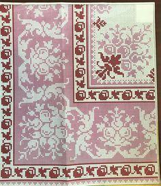 Cross Stitch Love, Cross Stitch Designs, Cross Stitch Patterns, Filet Crochet, Crochet Lace, Cross Stitching, Cross Stitch Embroidery, Palestinian Embroidery, Chiffon