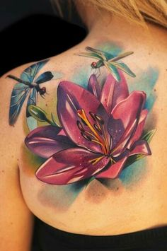 Dragonfly and Flower Tattoo