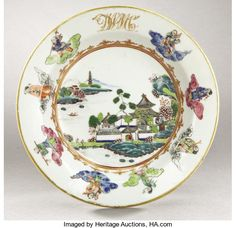 Political:3D & Other Display (pre-1896), DeWitt Clinton: Stunning Multi-Color Chinese Export Saucer...
