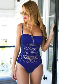 Give your curves a well-deserved day-out at the beach with this exquisite blue lace halter swimsuit. It has sweetheart neckline, partial lining, light padding and halter straps. Shop now. | Lookbook Store Swimwear