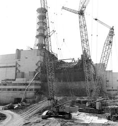 B. Chernobyl, Ukraine     The building of the sarcophagus around the fourth reactor of the Chernobyl nuclear power plant after its explosion is seen in this 1986 file photo. (Reuters)