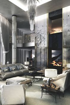 Magnificent grey living room.