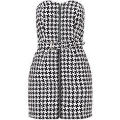 Red Houndstooth Buckle Detail Bandeau Bodycon Dress (€39) ❤ liked on Polyvore featuring dresses, buckle dresses, bodycon dresses, red day dress, bandeau bodycon dress and red bodycon dress