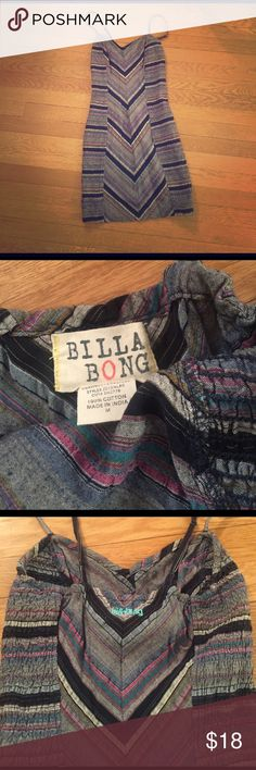 Billabong stretchy cotton dress Excellent condition. Multicolored denim like fabric dress. Extremely flattering Billabong Dresses Mini