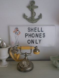 Shell Phones Only Sign Beach Cottage Decor by searchnrescue2, $58.00