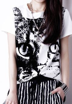 Oversized Black Cat Loose Fit Short Sleeve T Shirt