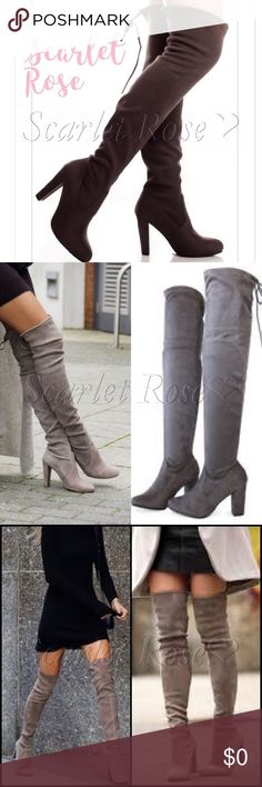 ❤️ON THEIR WAY!❤️ Gray Faux Suede Knee High Boots ❤️COMING SOON❤️ Very Trendy Gray Faux Suede Knee High Boots!! I am so excited about this order. I have a pair from this same wholesaler, & I absolutely LOVE them! They are comfortable, stylish, & HOT!! The 1st pic is the actual pair of boots, which I will model as soon as they arrive so you can see color & fit better. The colors are coming out a bit different than the actual color. The other pics show the same style of boots and different…