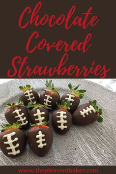 These chocolate covered strawberries are the most adorable super bowl dessert idea to bring to any party! Read on to see how easy it is to make these treats! #thepleasantbaker #chocolatecoveredstrawberries #superbowldessertidea Chocolate Covered Strawberries, Chocolate Dipped, Superbowl Desserts, Cake Decorating For Beginners, Valentine Day Cupcakes, Baked Chips, Baking Cupcakes, Yummy Treats