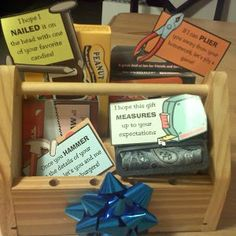 "Father's Day ""Tool Box"" Gift Set This Father's Day, give dad a tool box that is a little less traditional. Inexpensive and cheesy cute, this gift is full of… Birthday Week, Husband Birthday, Diy Birthday, Birthday Gifts, Birthday Ideas, Boyfriend Birthday, Christmas Gift Baskets, Diy Christmas Gifts, Holiday Gifts"