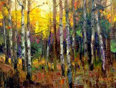 """Aspen Glow"" - Original Fine Art for Sale - © Julie Ford Oliver Birch Tree Art, Tree Artwork, Autumn Painting, Landscape Art, Landscape Paintings, Beautiful Paintings, Art Pictures, Original Paintings, Fine Art"