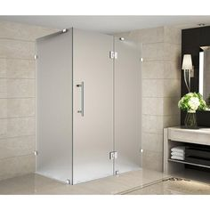 Aston Avalux 39 in. x 38 in. x 72 in. Completely Frameless Shower Enclosure with Frosted Glass in Chrome