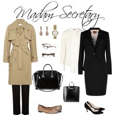 Madam Secretary by joyfulliving on Polyvore featuring Chloé, Ted Baker, Warehouse, Hobbs, Ganni, Givenchy, J APOSTROPHE, Skagen, Kate Spade and television
