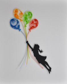 Wallhanging: Charming silhouette of a girl floating away with three colorful quilled balloons.