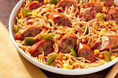 Fideos with Pan-Grilled Sausage — delicious and easy! We boiled the sausage the last time we made it, and it was just as delicious and easier than pan-grilling the sausage!