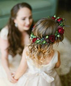 Old-World Wedding with Jewel Tone Color Palette in Florida Flower Girl with Ruby Red Flower Crown Green Fall Weddings, Emerald Green Weddings, Winter Wedding Flowers, Fall Wedding Colors, Burgundy Wedding, Burgundy Tie, Burgundy Bridesmaid, Bridesmaid Dresses, Red Rose Wedding