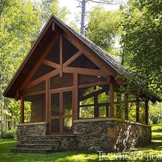 Screened in porch- for down by the river( keep the bugs away) fireplace. Doesn't get much better than that!