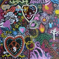 Jason and Bindi Wedding Reception - DoodleJam Creative Wedding Book - vibrant group paintings using doodles #DoodleJam