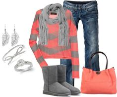 Rag  Bone striped jersey sweater, Uggs by mmessenger on Polyvore http://www.lrpvcgi.com  $84.99  ugg shoes, ugg boots,ugg fashion style