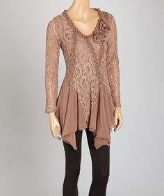 This Brown V-Neck Linen-Blend Tunic by Pretty Angel is perfect! #zulilyfinds