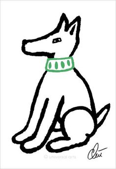 JACQUELINE DITT - Waiting Dog Original Grafik handsigniert Bilder Hund Peace Dog