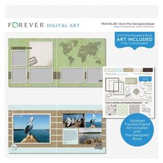 Traveler Pre-designed Book 12x12  This pre-designed book template is fully customizable for 12 x 12 or 8 x 8 pages. Original content by Creative Memories Legacy Collection. All page layouts are brand new.